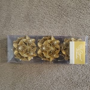 Other - NWT Gold Floral Christmas Ornaments